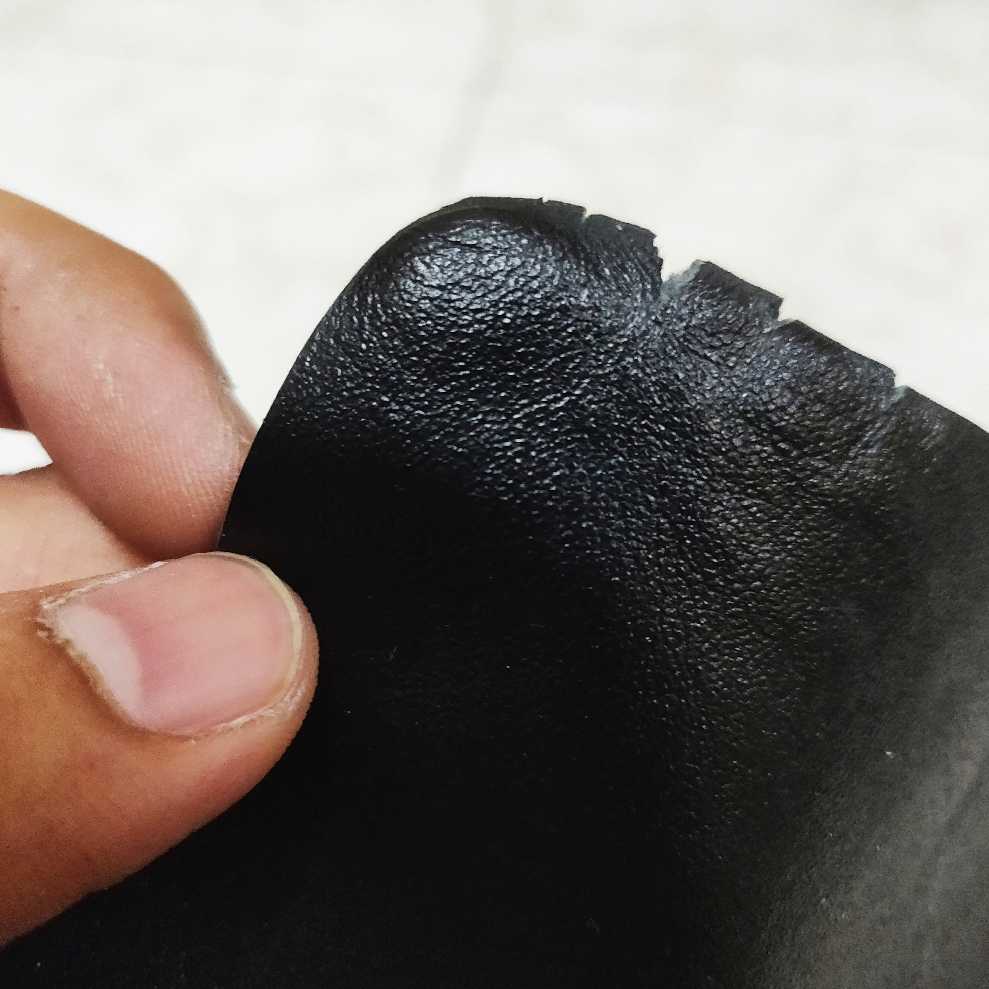 Genuine leather after fire test
